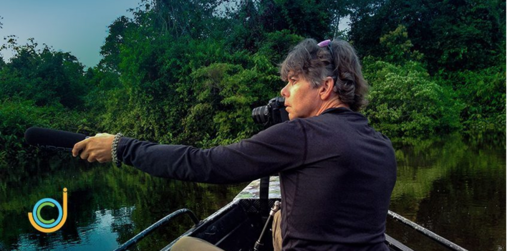 Our Cancer Journey Podcast's Host Bruce Watkins filming in the Amazon Jungle